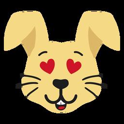 Autocolante plano com focinho de coelho e coelho enamorado