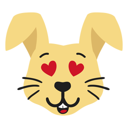 Conejo conejito bozal enamorado pegatina plana