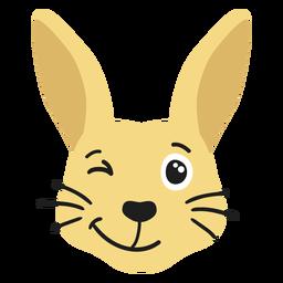 Adesivo de coelho com focinho alegre e plano