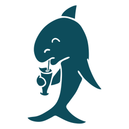 Shark cocktail detailed silhouette