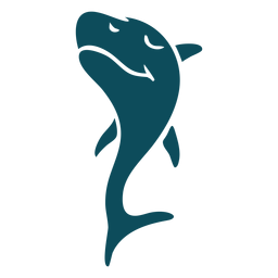 Shark jumping happy detailed silhouette
