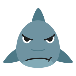 Bozal de tiburón enojado pegatina plana