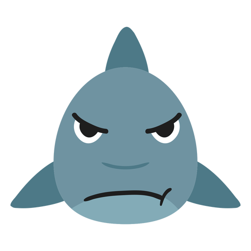 Shark muzzle angry flat sticker Transparent PNG