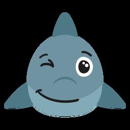 Bozal de tiburón alegre pegatina plana