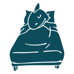 Shark sleeping bed detailed silhouette