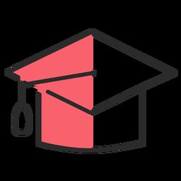 Tapa académica cuadrada trazo plano