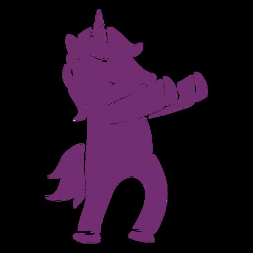 Unicornio bailando danza silueta detallada