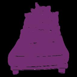 Silueta detallada de cama de dormir de unicornio