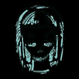 Mujer cara cabello bob corte ilustración línea
