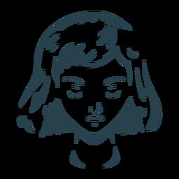 Silhueta detalhada de cabelo de rosto de mulher