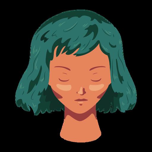 Mujer cara cabello plano