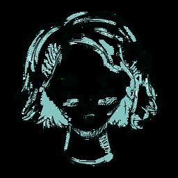 Linha de ilustração de cabelo de rosto de mulher