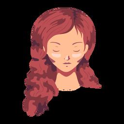 Woman face hair long flat