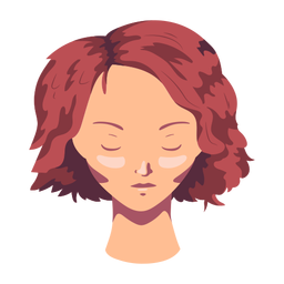 Mulher rosto cabelo curto liso