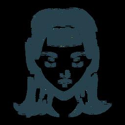 Bob de rosto de cabelo de mulher cortada silhueta detalhada