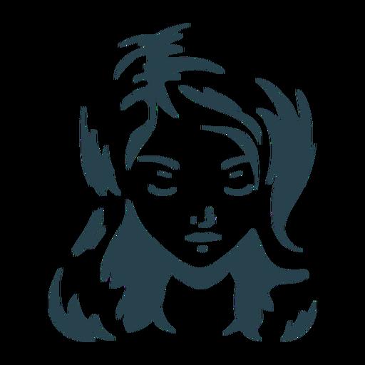 Mujer cabello cara franja silueta detallada Transparent PNG