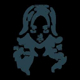 Silhueta de rosto de cabelo de mulher detalhada