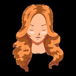 Rosto longo de cabelo de mulher plana