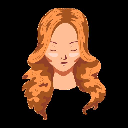 Mujer cabello largo rostro plano Transparent PNG