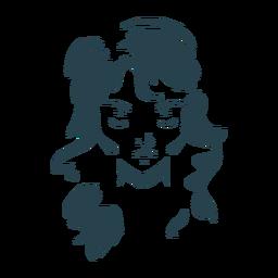 Silhueta de rosto comprido de cabelo de mulher detalhada
