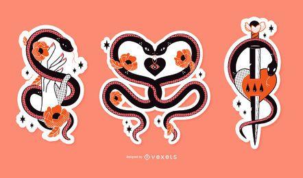 Set de pegatinas románticas serpientes tristes