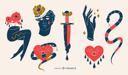 Conjunto de ilustração romântica e triste