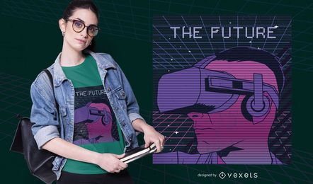 Diseño de camiseta de futuro de Retrowave