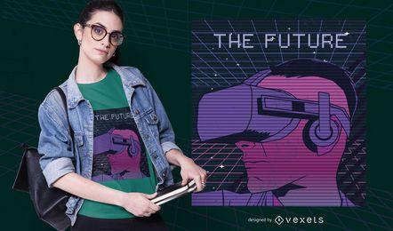 Diseño de camiseta del futuro Retrowave