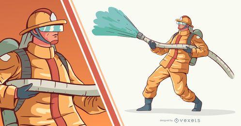 Fireman Pumping Water People Illustration