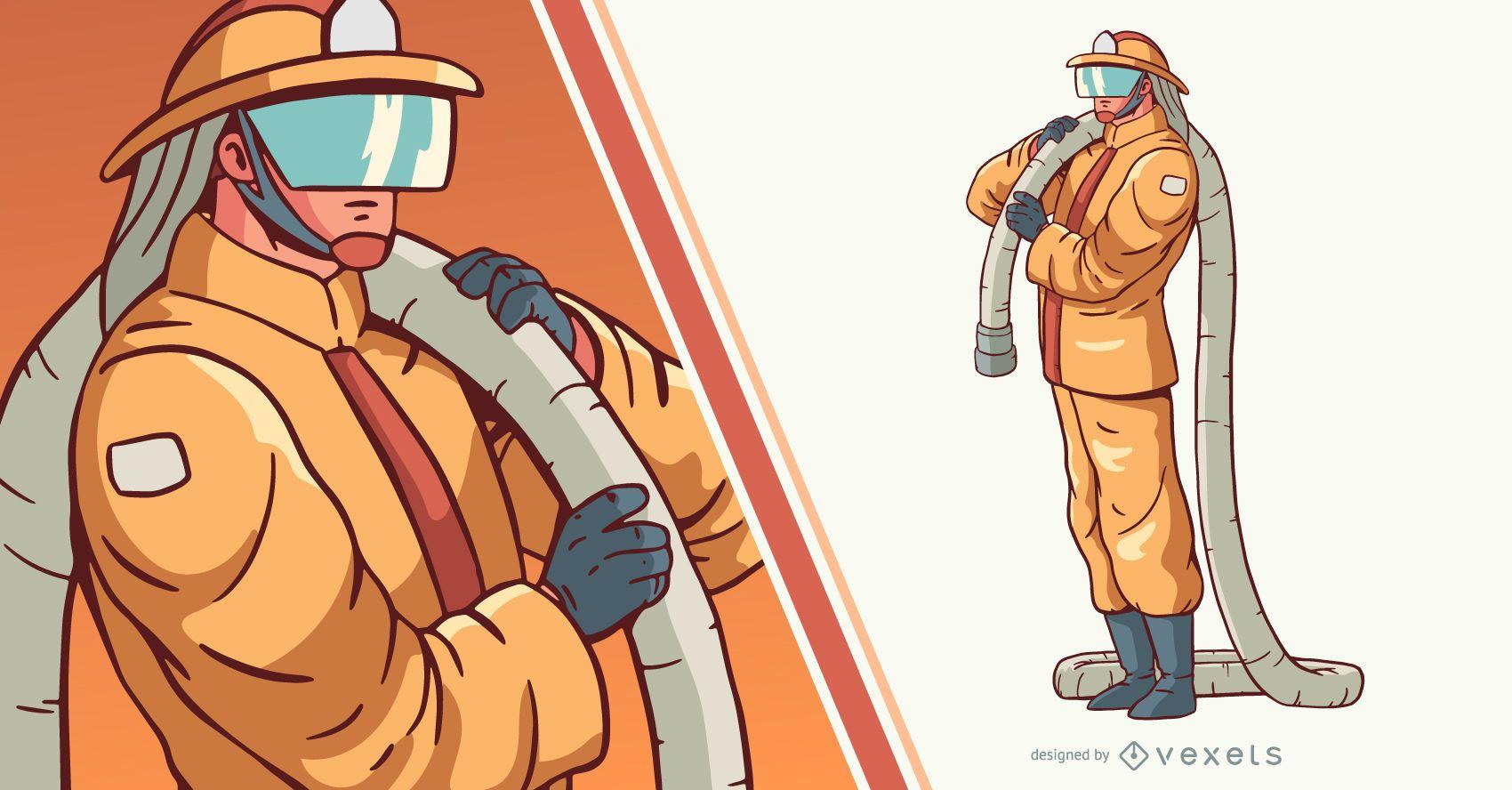 Bombero con ilustración de personaje de manguera