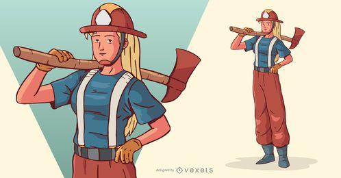 Firewoman com ilustração de personagem Machado