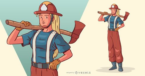 Firewoman With Axe Character Illustration