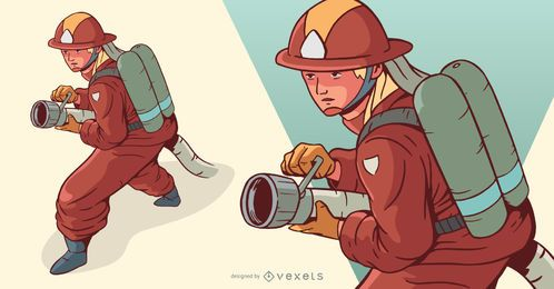 Firewoman Illustration Design
