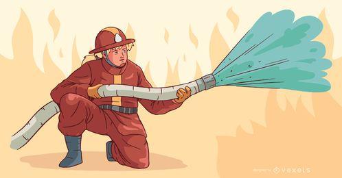 Firewoman apagando fuego ilustración