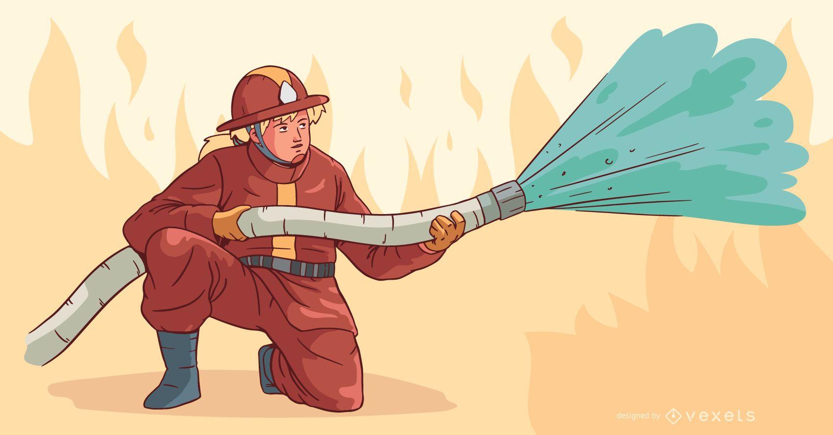 Bombero apagando ilustración de fuego