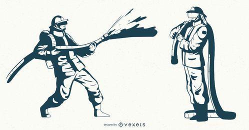 Conjunto de caracteres de bombero monocolor