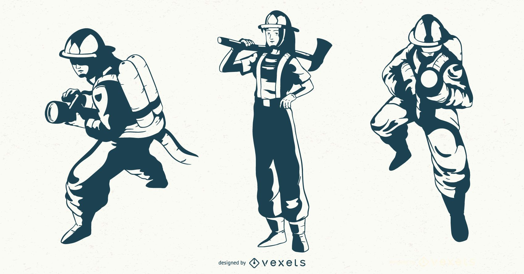 Conjunto de caracteres monocolor de bombeiro