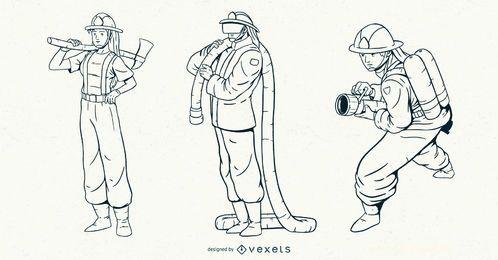 Feuerwehrmann-Strich-Zeichensatz