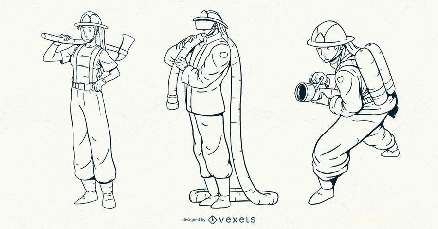 Fireman Stroke Character Set