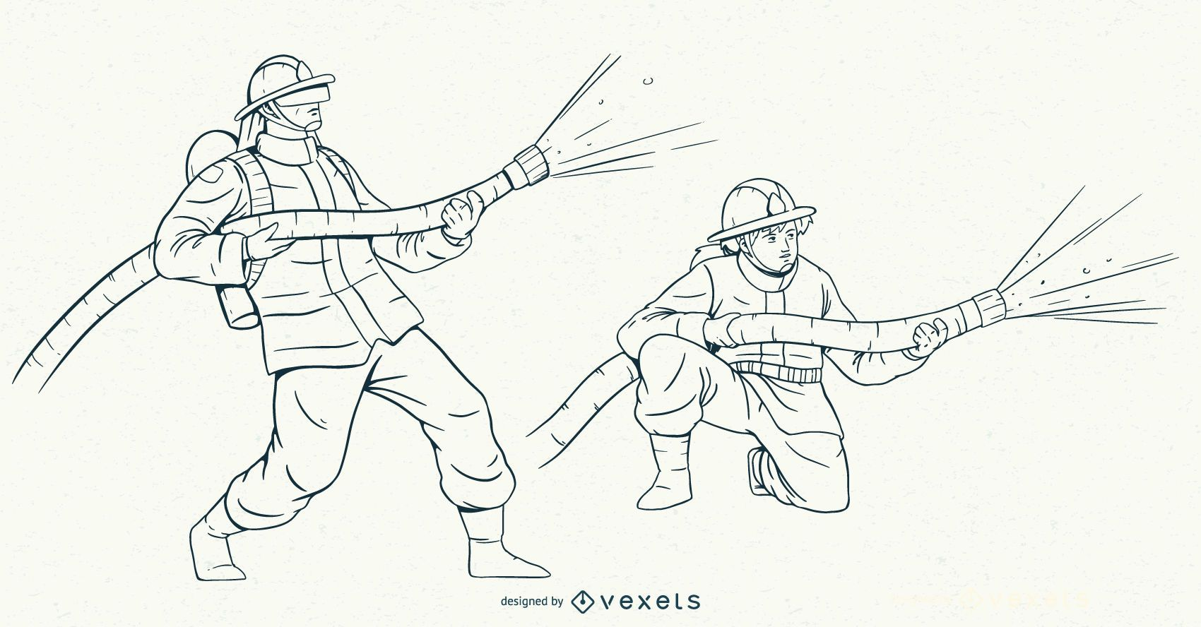 Conjunto de caracteres de trazo de bomberos