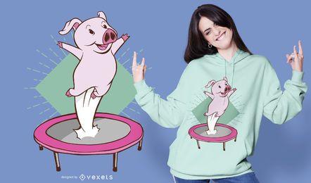 Diseño de camiseta de cerdo trampolín