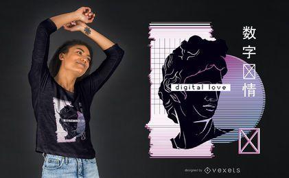 Design de camisetas digitais de amor da Vaporwave