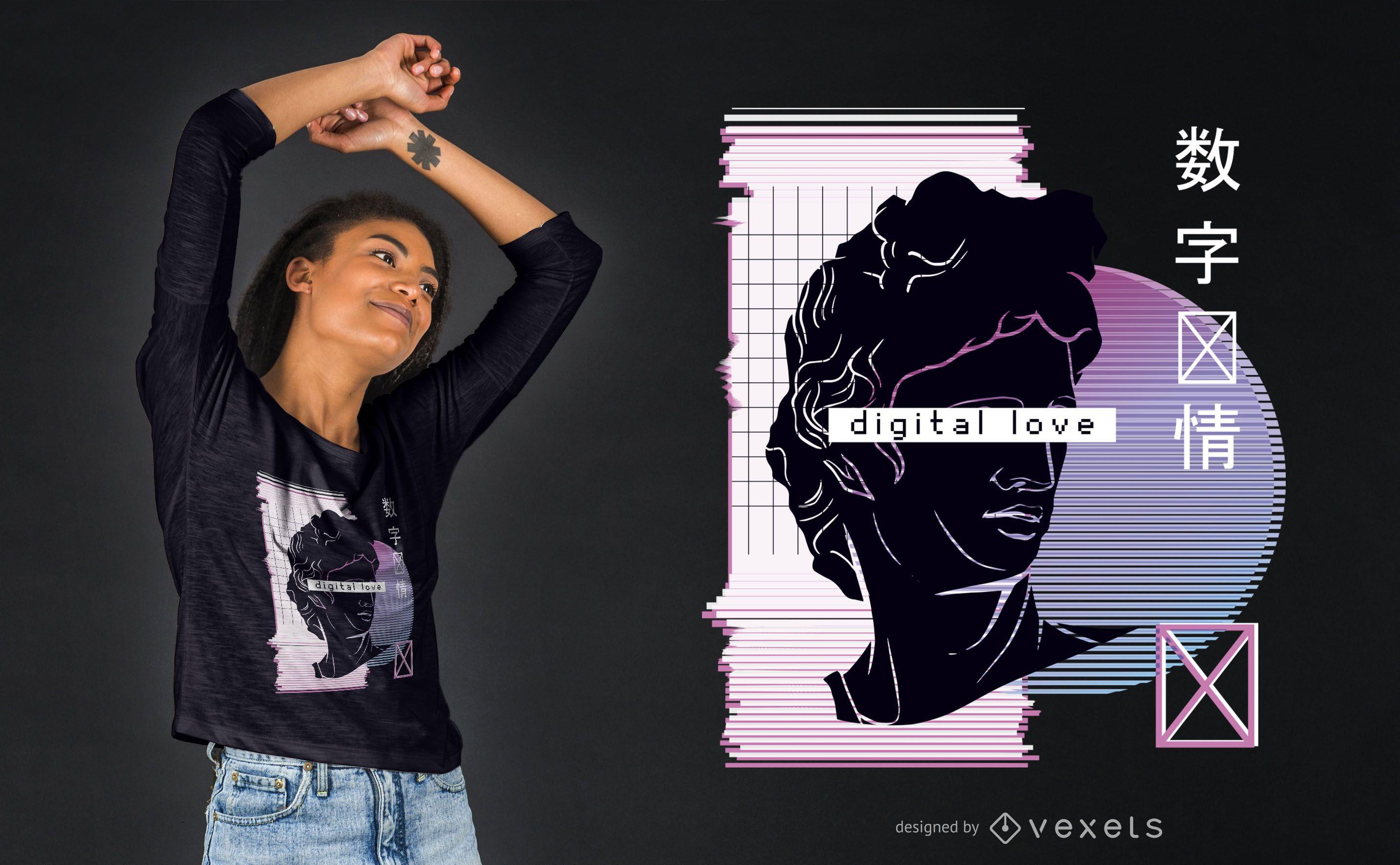 Vaporwave digital love t-shirt design