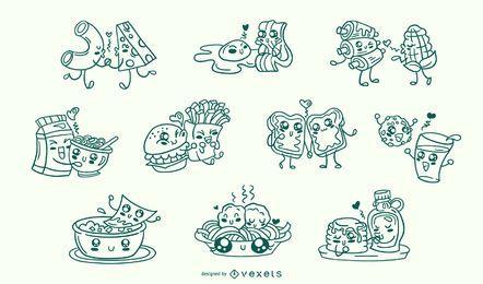 Conjunto de trazo de parejas de comida de San Valentín
