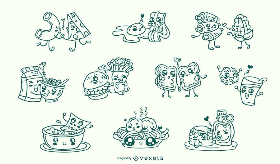 Conjunto de traço de casais de comida dos namorados