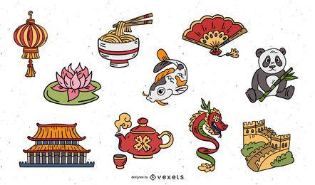Conjunto de elementos chinos dibujados a mano