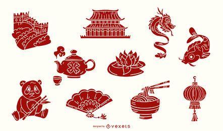 Conjunto de elementos chineses vermelho