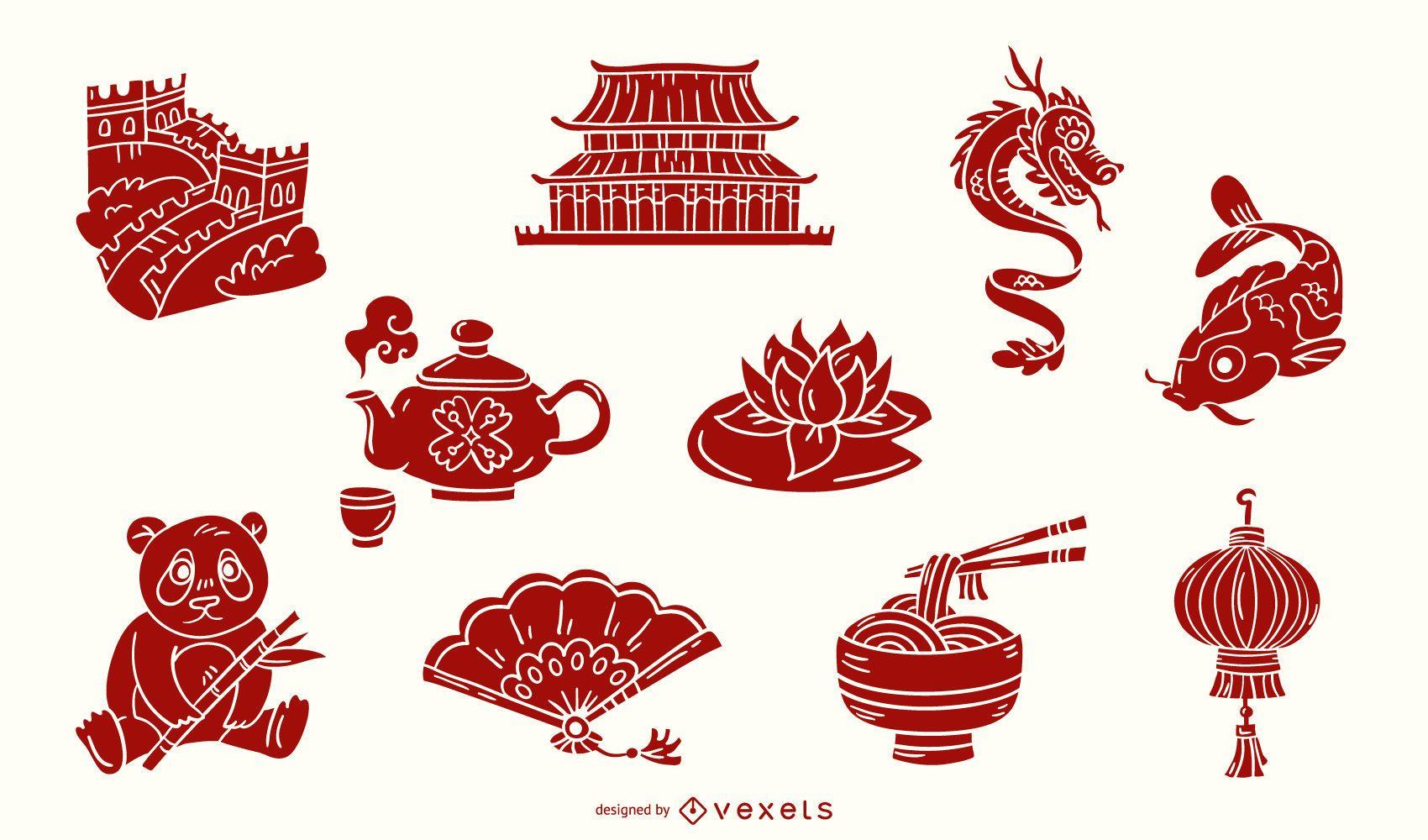 Conjunto rojo de elementos chinos