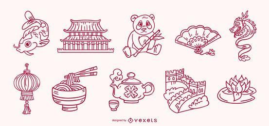 Conjunto de traços de elementos chineses