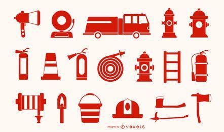 Colección de iconos rojos de bombero